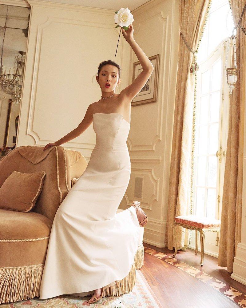 Jill Jill Stuart Strapless Structured Crepe Gown