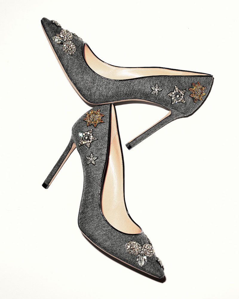 Jimmy Choo Romy Crystal Flannel 100mm Pump