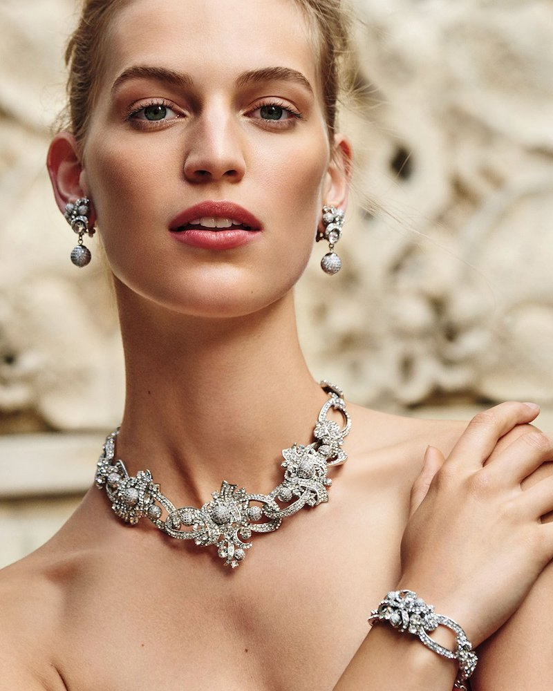 Jose & Maria Barrera Crystal Ribbon Collar Necklace