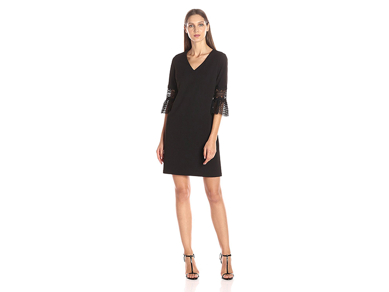 Julia Jordan 3/4 Sleeve with Lace Trim Shift Dress with Pockets