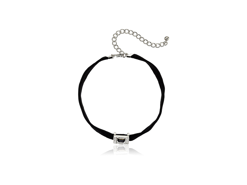 Kenneth Jay Lane Black Velvet Choker with Crystal and Jet Front Choker Necklace