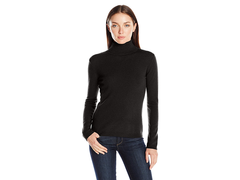 Lark & Ro 100% Cashmere Slim-Fit Basic Turtleneck Sweater