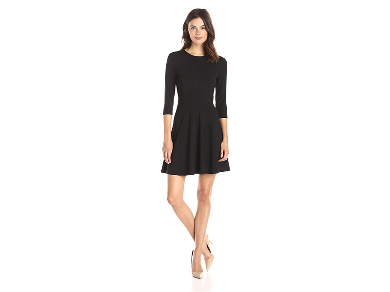 Lark & Ro 3/4 Sleeve Knit Fit-and-Flare Dress
