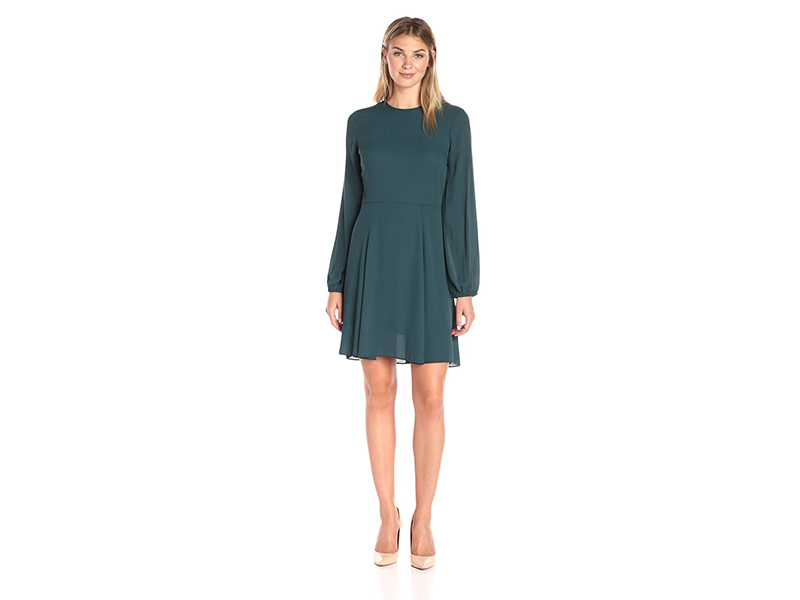 Lark & Ro Bishop-Sleeve Flare Dress