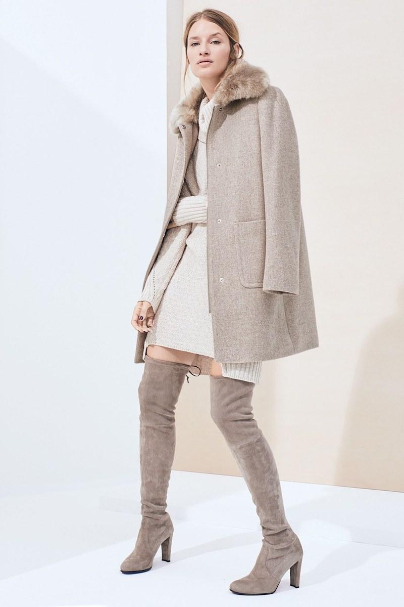 Lauren Ralph Lauren Wool Blend Coat with Faux Fur Collar