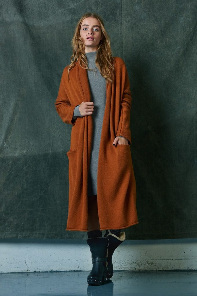 Leith Easy Fit Long Cotton Blend Cardigan