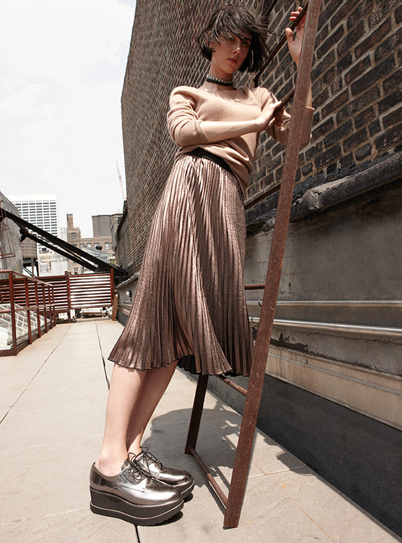 Leith Metallic Pleat Midi Skirt