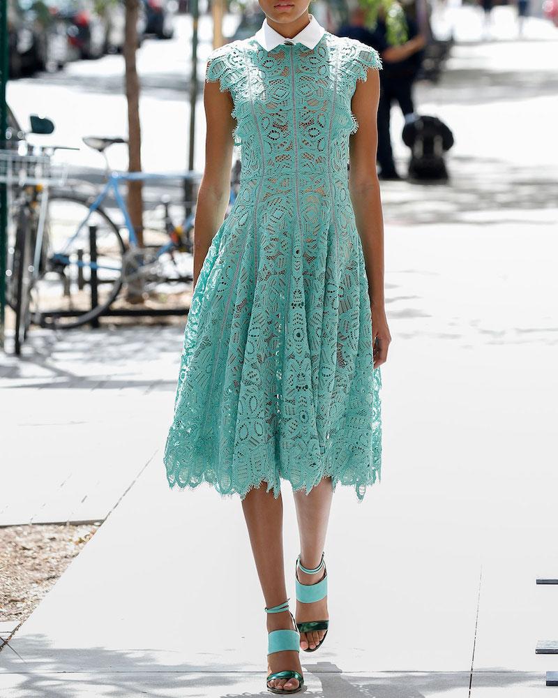 Lela Rose Collared Ruffled-Trim Lace Dress