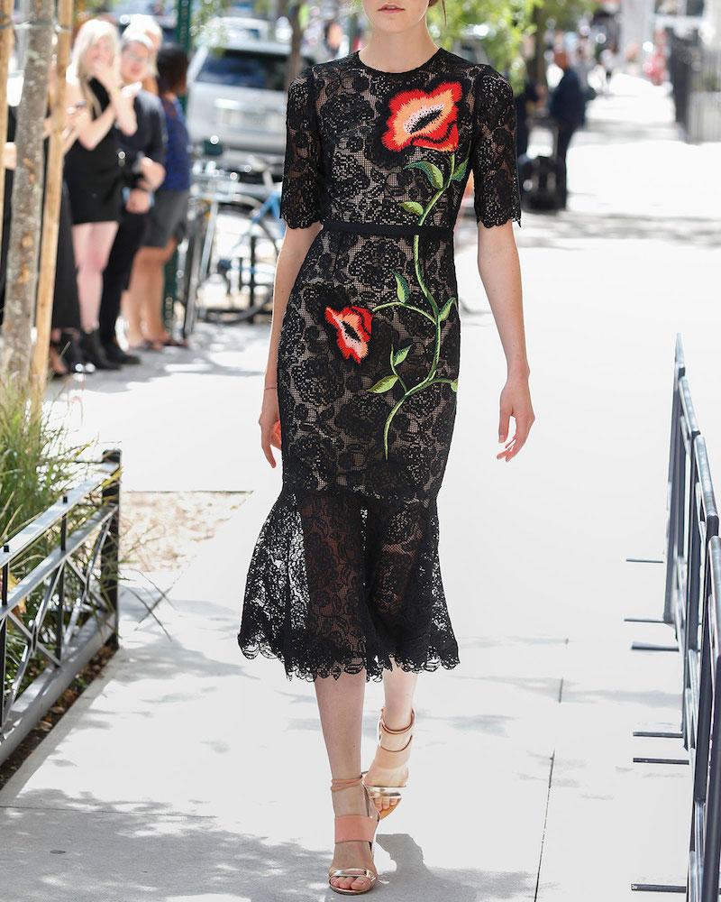 Lela Rose Floral-Embroidered Lace Flounce Midi Dress