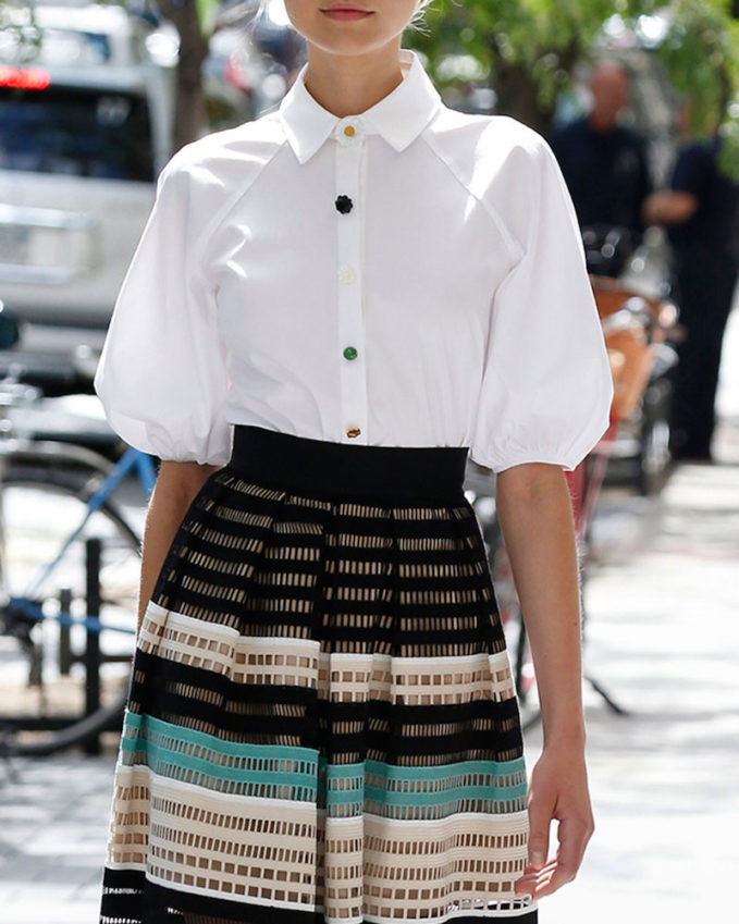 Lela Rose Full-Sleeve Button-Down Blouse