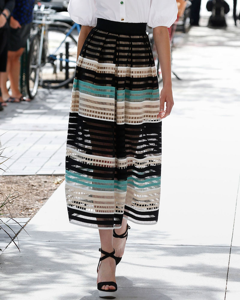 Lela Rose Striped Crochet A-Line Midi Skirt