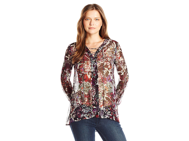 Lucky Brand Plus Size Floral Peasant Top