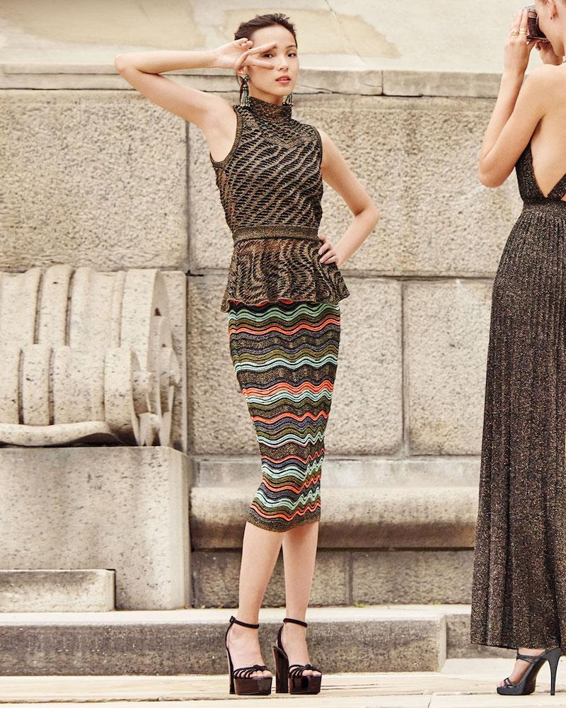 M Missoni Ripple-Stitch Lurex Convertible Tube Skirt