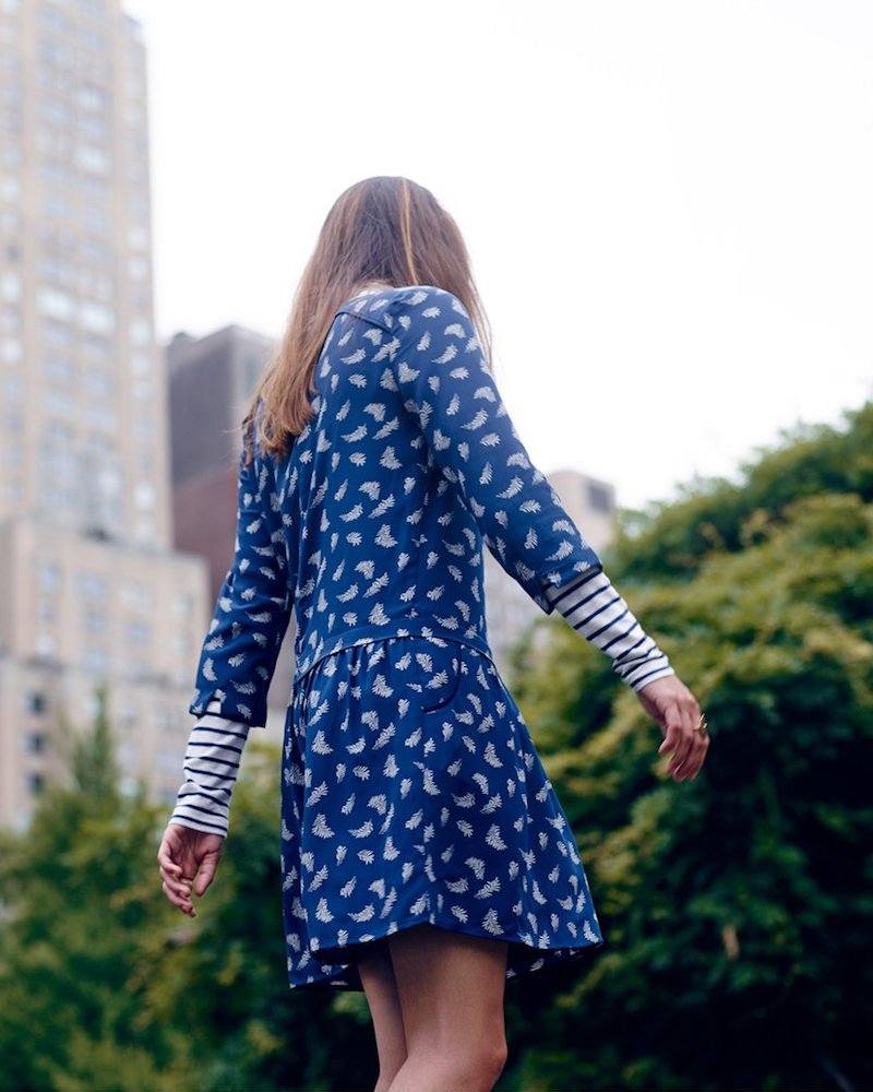 Madewell et SéZane Silk Anna Drop-Waist Dress In Leaf Print