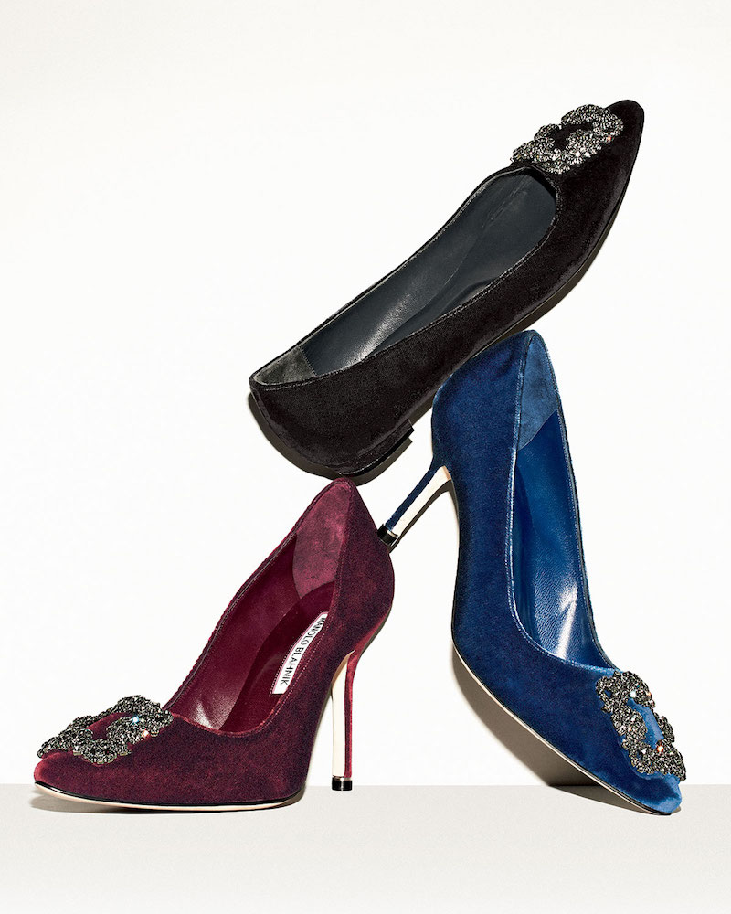 Manolo Blahnik Hangisi Crystal-Buckle Velvet 70mm Pump