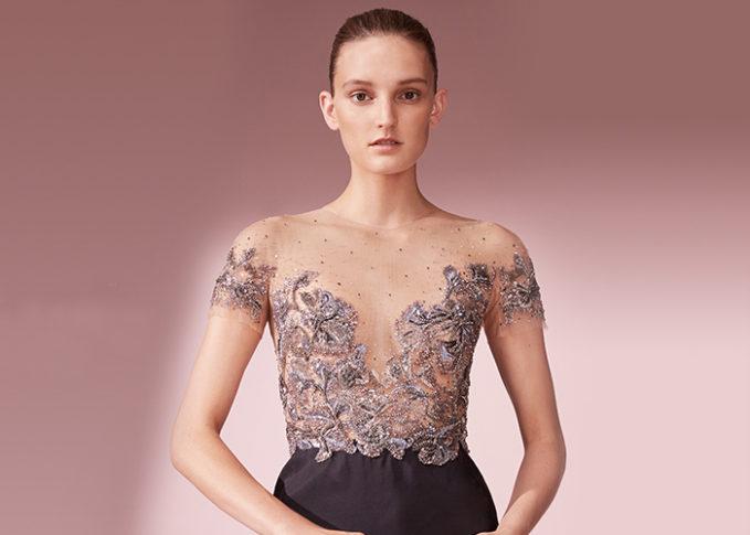 Marchesa Embellished Tulle Bodice Sheath Dress