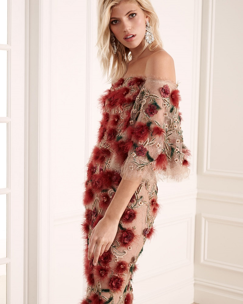 Marchesa Off-the-Shoulder Bell-Sleeve Feather Gown