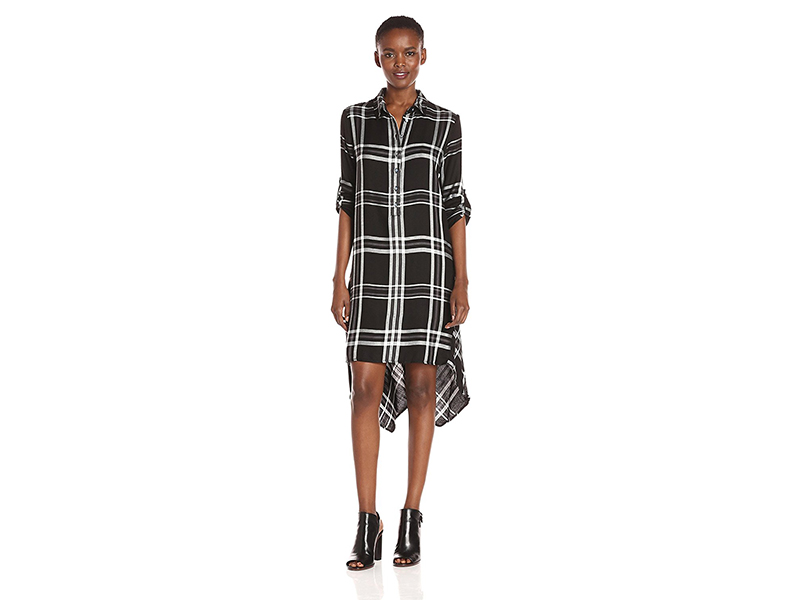 Max Studio Long Sleeve Plaid Button Down Collar Dress