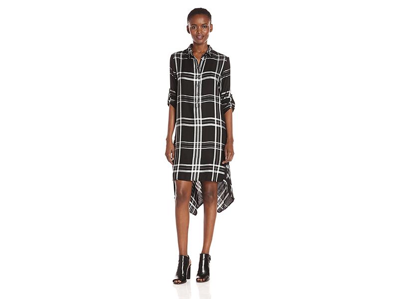 Max Studio Long Sleeve Plaid Button Down Collar Dress