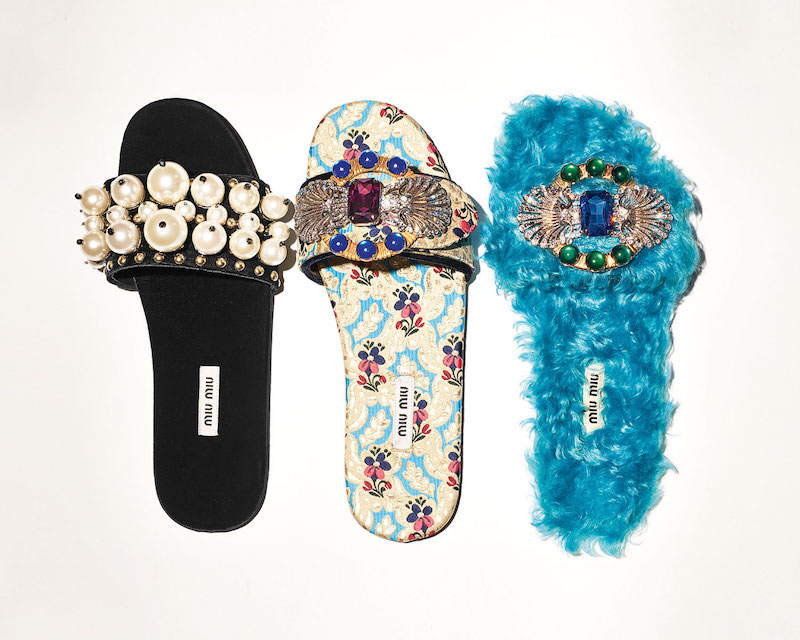 Miu Miu Crystal Faux-Shearling Slide Sandal