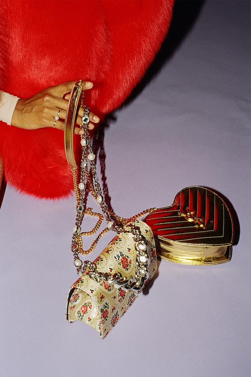 Miu Miu Gold Tapestry Bag
