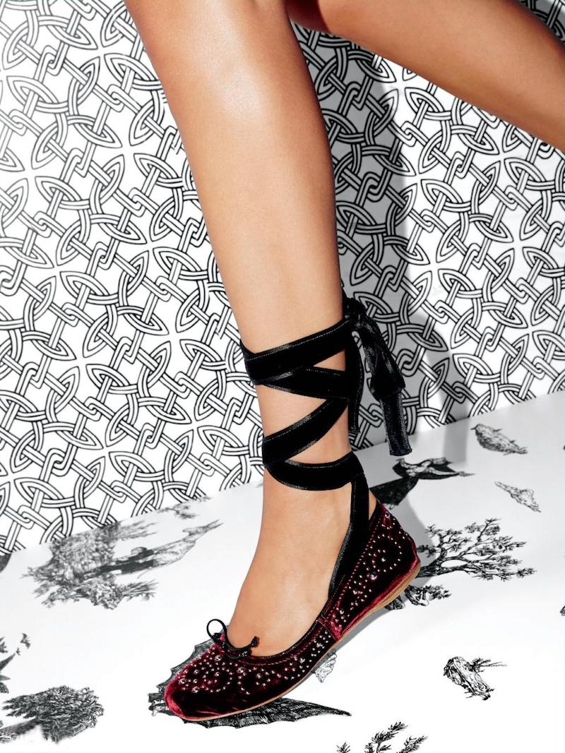 Miu Miu Studded Velvet Lace-Up Ballet Flats