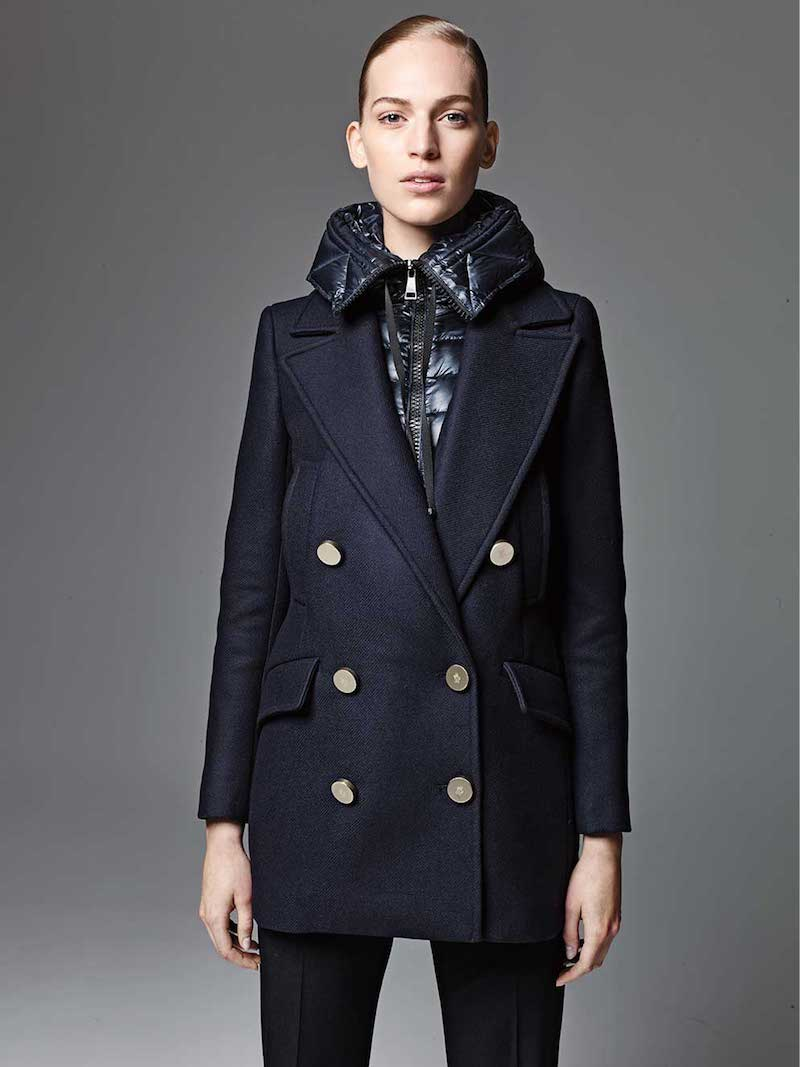 Moncler Galatea Wool Pea Coat with Puffer Vest