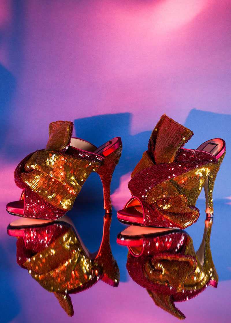 N°21 Sequin Embellished Bow Mules