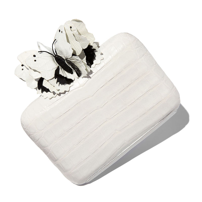 Nancy Gonzalez Butterfly Crocodile Box Clutch Bag