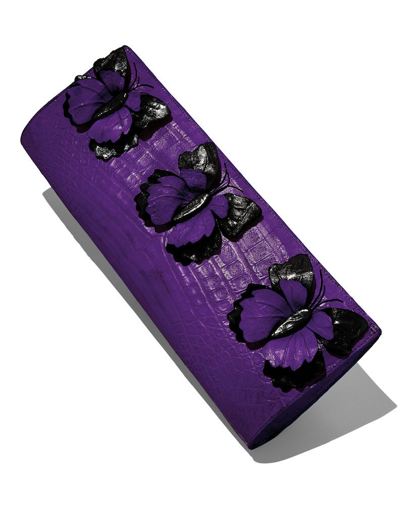 Nancy Gonzalez Butterfly Crocodile Razor Clutch Bag