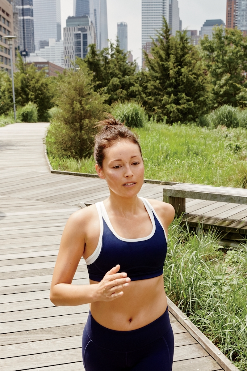 New Balance for J.Crew Colorblock Sports Bra in Blue