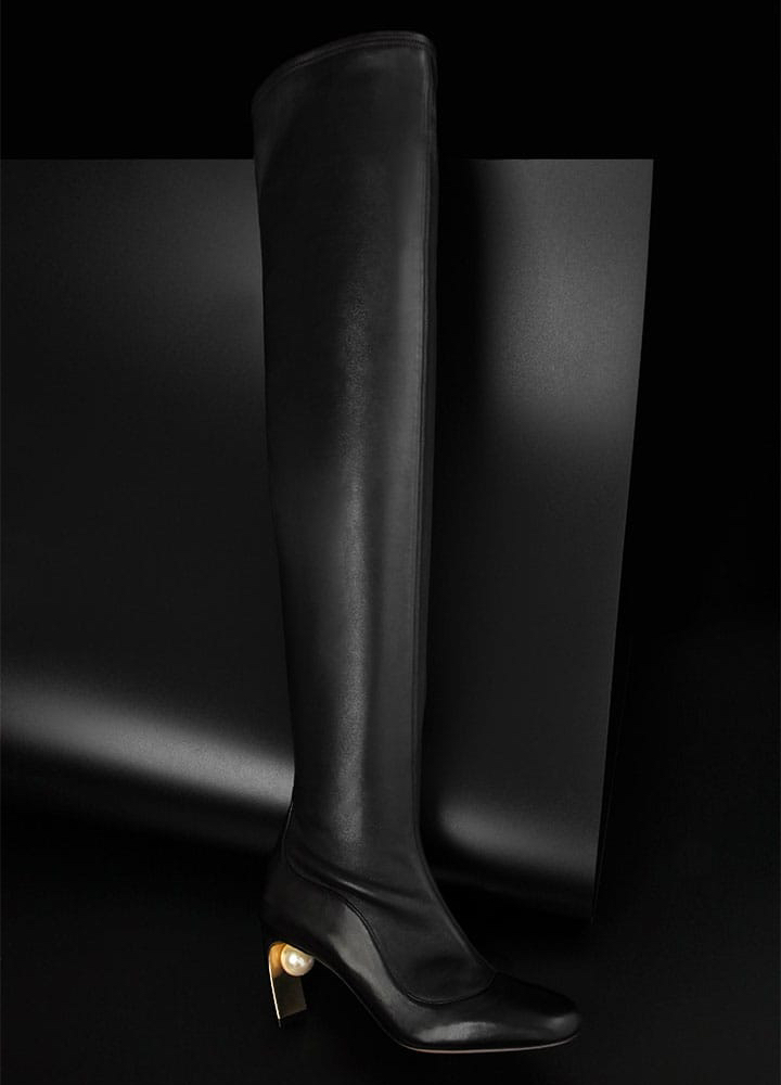 Nicholas Kirkwood Maeva Pearl Leather Over-The-Knee Boots