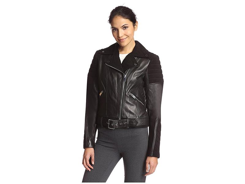 Nicole Miller Leather Combo Moto Jacket