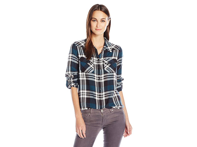 Noisy May Erik Plaid Long Sleeve Shirt with Pockets