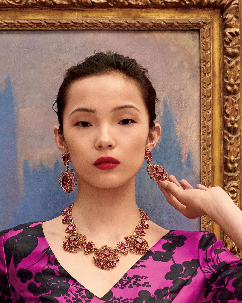 Oscar de la Renta Tiered Crystal Clip-On Drop Earrings
