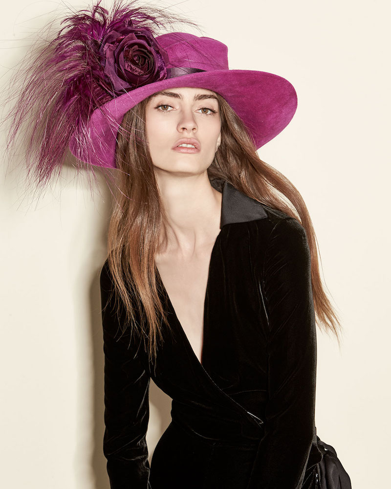 Philip Treacy Velour Feather-Spray Side-Sweep Hat