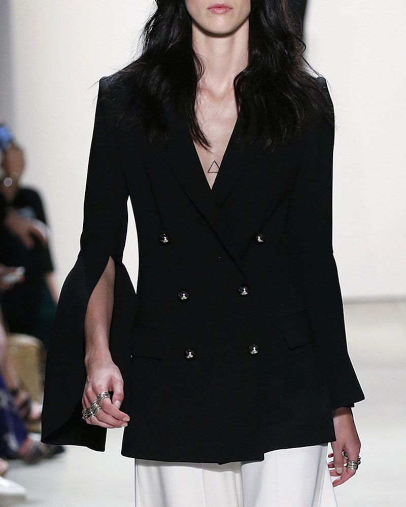 Prabal Gurung Bell-Sleeve Double-Breasted Jacket