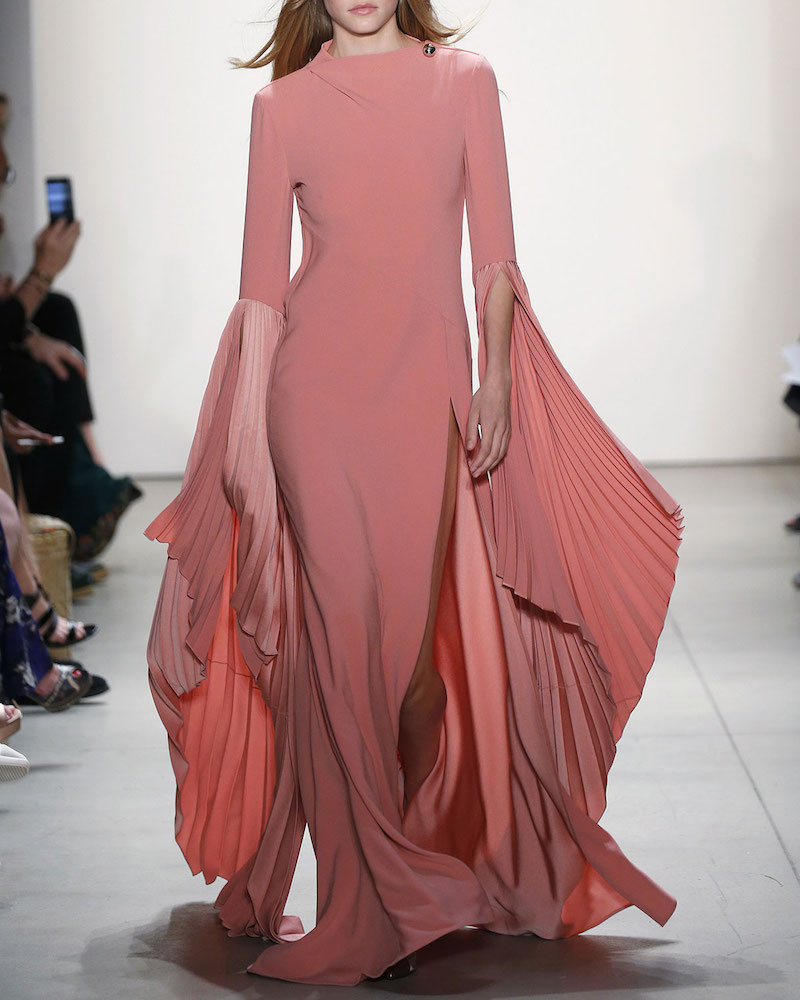 Prabal Gurung Cowl-Back Fan-Sleeve Gown
