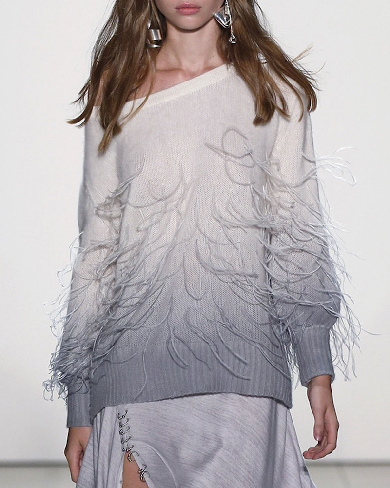 Prabal Gurung Feather Degrade Off-the-Shoulder Sweater