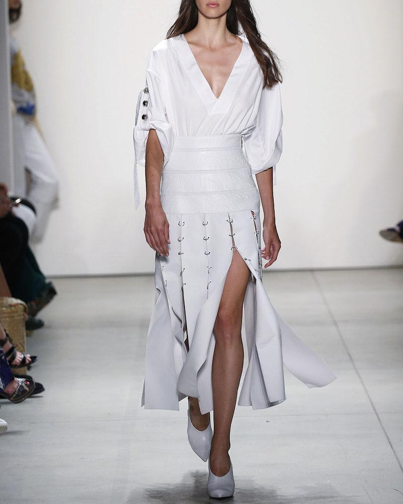 Prabal Gurung Leather Pierced Slit Midi Skirt