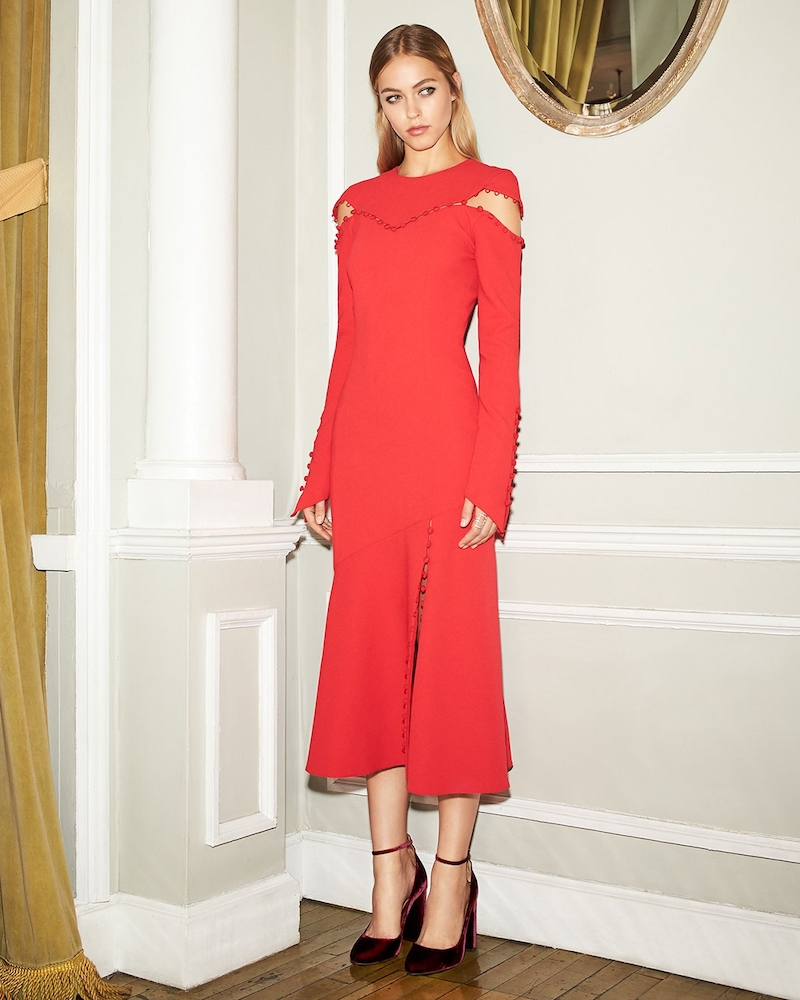 Prabal Gurung Long Sleeve Crew Neck Dress