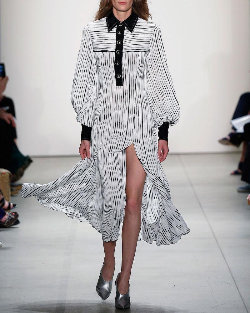Prabal Gurung Striped Button-Front Long-Sleeve Maxi Dress