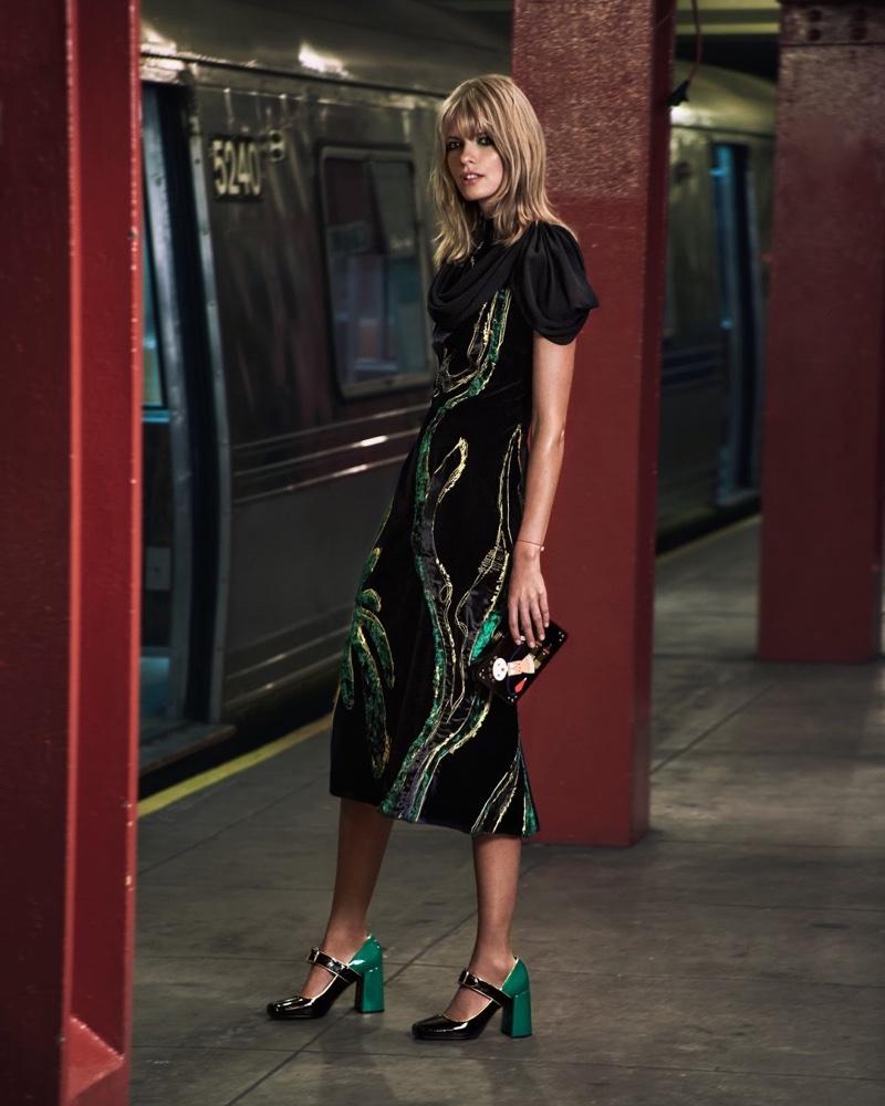 Prada Appliquéd Paneled Velvet Dress