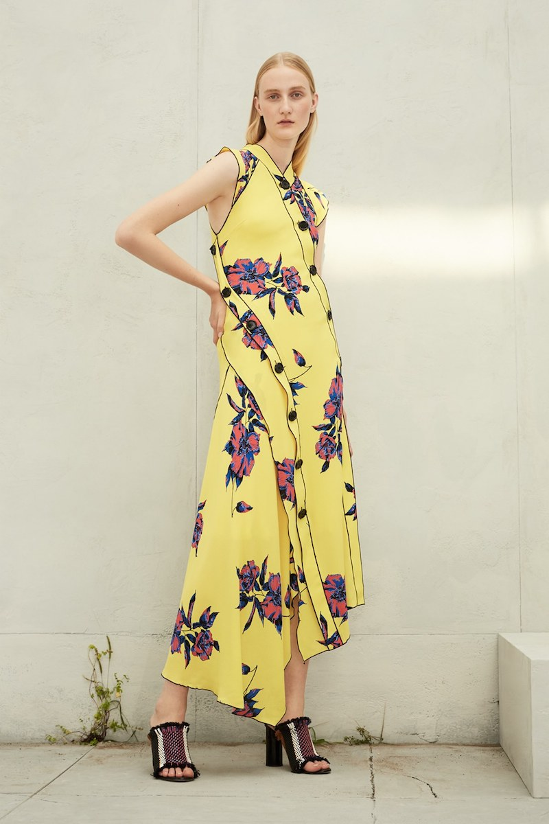 Proenza Schouler Floral Print Silk Georgette Dress