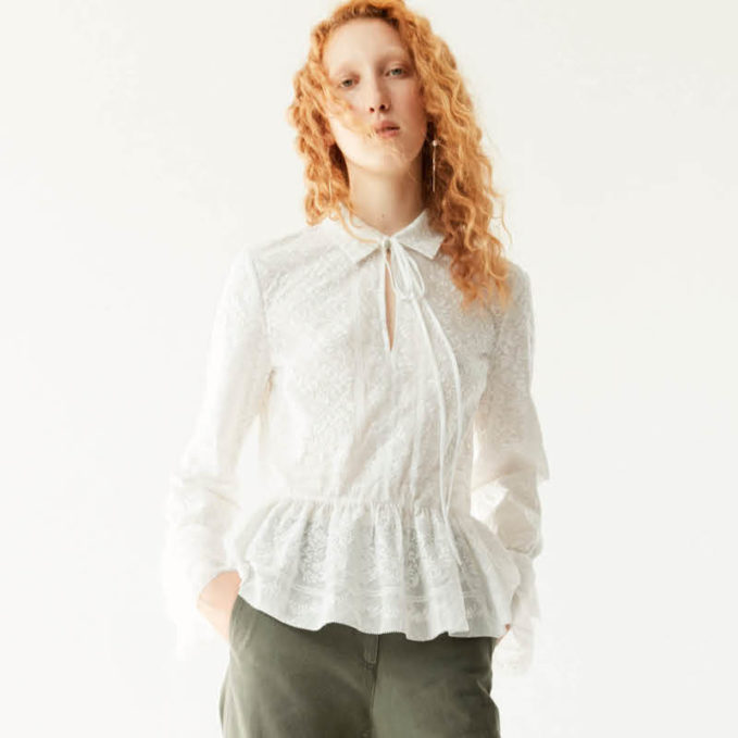 R R Studio by Robert Rodriguez Embroidered Cotton Voile Peplum Top