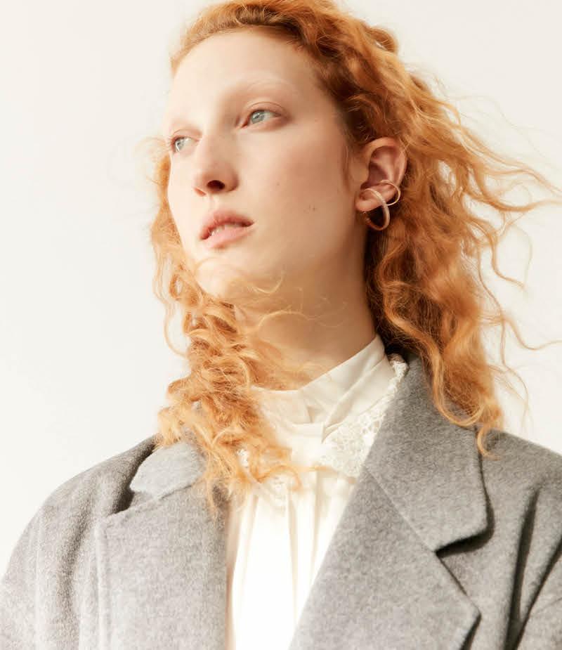 R/R Studio by Robert Rodriguez Lace Collar Silk Top
