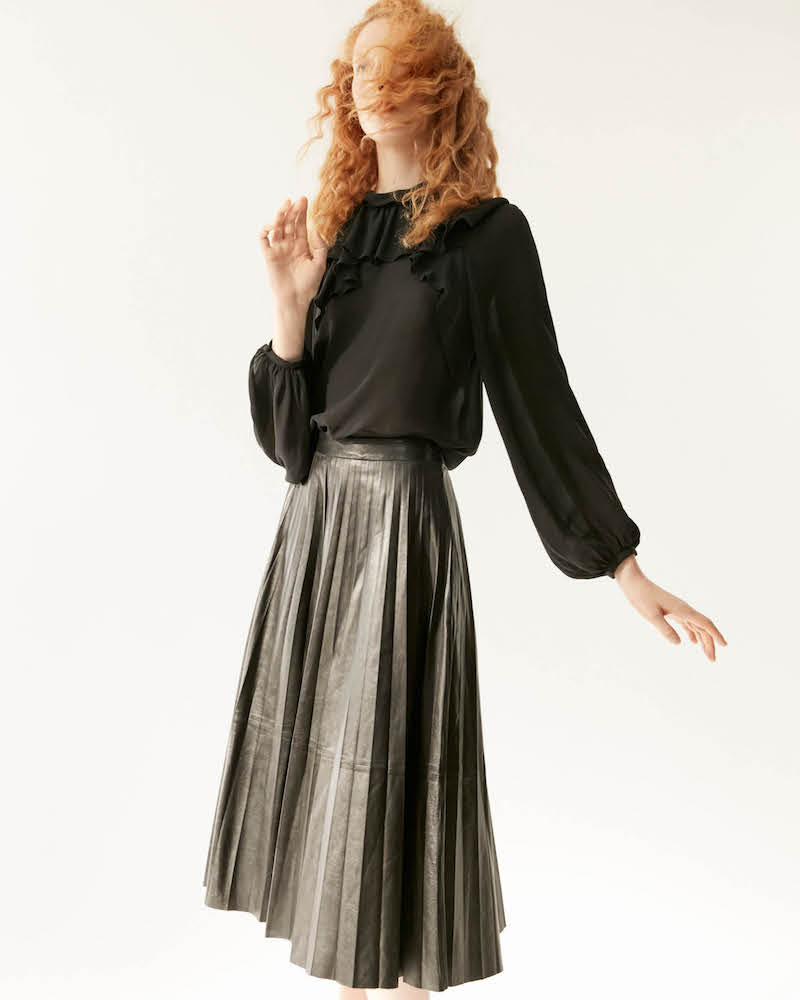 R/R Studio by Robert Rodriguez Leather Midi-Skirt