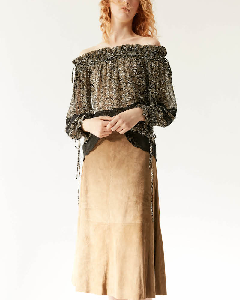 R/R Studio by Robert Rodriguez Suede A-Line Skirt