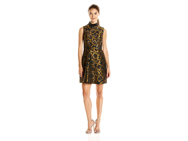 Rachel Rachel Roy Mock Neck Metallic Jacquard Fit and Flare Dress