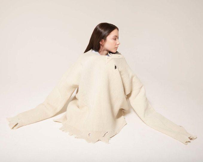 Raf Simons White Oversized Destroyed Sweater